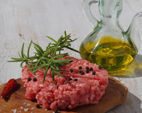 Beef cooked hamburger with oil Royalty Free Stock Photos