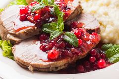 Beef with cranberry sauce Royalty Free Stock Photography