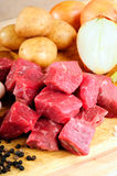 Beef Cubes. Raw Ingredients For A Traditional Beef Stew Recipe Royalty Free Stock Photo