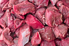 Beef Cubes. Fresh raw beef cubes  chopped  for a stew Stock Photos