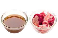 Beef cubes and stock isolated. Close up of beef cubes and stock isolated Royalty Free Stock Image