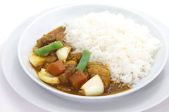 Beef curry. And vegetable with steamed rice Royalty Free Stock Images