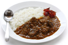 Beef curry on rice. Japanese most popular curry on a white background Royalty Free Stock Photos