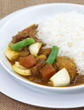 Beef curry rice. Japanese traditional food beef curry and vegetable with steamed rice Stock Image