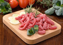 Beef cut into strips Royalty Free Stock Photos