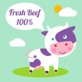 Beef. Cute cartoon cow. Meat store concept. Fresh beef 100 Royalty Free Stock Photo
