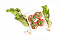 Beef cutlet ready for prepare with garlic Royalty Free Stock Photos