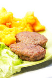 Beef cutlets with breaded cauliflower Royalty Free Stock Photos