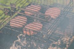 Beef cutlets on the grill. Close-up. Beef cutlets on the grill. Close-up outdoor stock photos