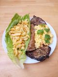 Beef Cutlets Salad Fries Eggs Bread One Stock Image