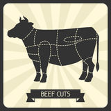 Beef cuts. Butchers cheme cutting meat illustration Royalty Free Stock Images