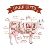 Beef Cuts Illustration. Beef cuts concept with realistic cow with parts scheme vector illustration Stock Photos