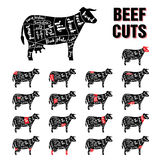 Beef Cuts Vector Template Set Royalty Free Stock Photos