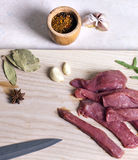 Beef on a cutting board Royalty Free Stock Photos