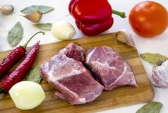 Meat beef on a cutting Board stock images