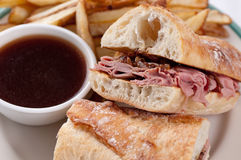 Beef dip or french dip Royalty Free Stock Photos