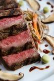 Beef dish. Seared Japanese Beef dish sliced stock photo
