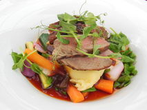 Beef dish in Ireland. Beef dinner on white plate in Dublin, Ireland Stock Images