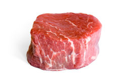 Beef Eye Fillet. Raw Beef Eye Fillet Steak isolated on white(Clipping Path Royalty Free Stock Images