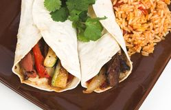 Beef fajitas. With rice royalty free stock images