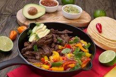 Beef Fajitas In Cast Iron Skillet Stock Image
