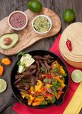 Beef Fajitas In Cast Iron Skillet Royalty Free Stock Image