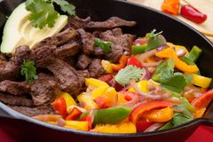 Beef Fajitas In Cast Iron Skillet Stock Image