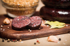 Beef and fat sausage Royalty Free Stock Image