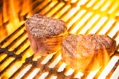 Beef Filet Mignon with Flames Royalty Free Stock Photography