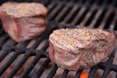 Beef Filet Mignon with Flames Stock Photography