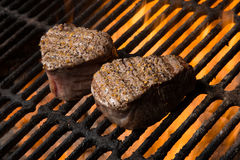 Beef Filet Mignon with Flames Stock Images