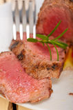 Beef filet mignon grilled with vegetables Stock Photos