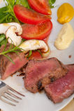 Beef filet mignon grilled with vegetables Stock Images