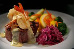 Beef Filet Mignon with Shrimp and Veggies