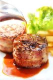 Beef Filet Mignon with suace - Tenderloin steak and bacon Stock Images