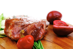 Beef fillet mignon grilled and garnished with lettuce Royalty Free Stock Images