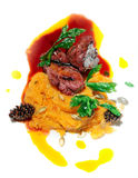 Beef fillet with pumpkin mash Royalty Free Stock Photos