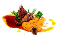 Beef fillet with pumpkin mash Stock Photo