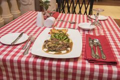 Beef fillet steak with mushroom sauce meal royalty free stock photos