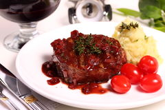 Beef fillet with wine sauce. Royalty Free Stock Photos