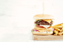 Beef and fish burger Royalty Free Stock Photography