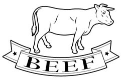 Beef food label. Beef meat food label of a cow and banner reading beef Royalty Free Stock Photos