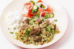 Beef with freekeh high angle view Stock Photos