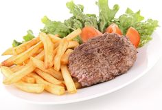 Beef and french fries Stock Photos