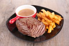 Beef and fries Royalty Free Stock Image