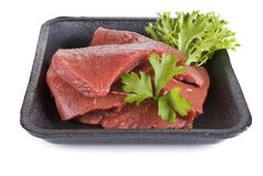 Beef frying steak in tray - isolated Stock Photos