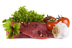 Beef frying steak with vegetables Stock Image