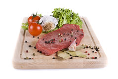 Beef frying steak with vegetables Stock Photo