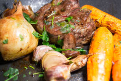 Beef Garlic Onions and Carrots Stock Photography