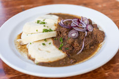 Beef Goulash and Bread Dumplings serving Royalty Free Stock Image